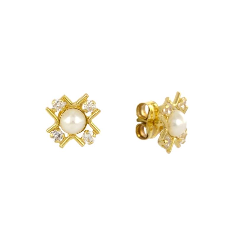 Pendientes oro con perla